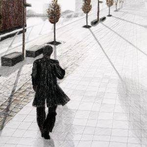 Heidrun Wettengl: Walking, Bleistift, Wachskreide auf Papier, 39x56,5 cm, 2011. Alle Rechte vorbehalten.