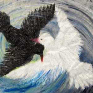 Heidrun Wettengl: Zwei - Eins - ..., Wachs-/Ölkreide, Aquarell auf grauem Packpapier, 47x49 cm, 2011. Alle Rechte vorbehalten.